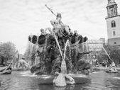 Black and white Neptunbrunnen — Stock Photo