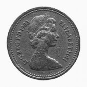 Black and white The Queen on One Pound coin — Stock Photo