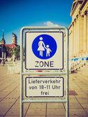 Retro look Pedestrian area sign — ストック写真