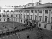 Black and white Palazzo Reale in Milan — Stock Photo