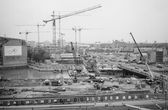 Black and white Potsdamer Platz building site — Stock Photo