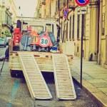 Retro look Roadworks signs — Stock Photo