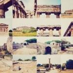 Retro look Paestum landmarks, Italy — Stock Photo #51726397