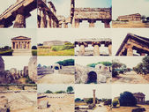 Retro look Paestum landmarks, Italy — Stock Photo