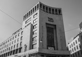 Black and white Banca di Roma (now Unicredit bank) in Milan Ital — Stock Photo