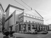 Black and white Carlo Felice opera house Genoa — Stock Photo