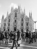 Black and white Mass at Duomo di Milano — Stock Photo