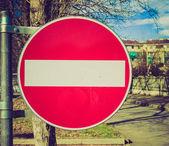 Retro look No entry sign — Stock Photo