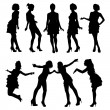 Silhouettes of young girls — Stock Vector #40729917