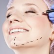 Cosmetic botox injection, in the female face — Stock Photo #12257699