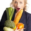 Woman holding a bag full of healthy food. shopping — Stock Photo