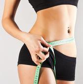Woman measuring perfect body, concept — Stock Photo