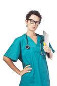 Medische persoon. verpleegkundige, jonge dokter portret. — Stockfoto