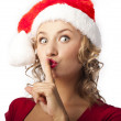 Portrait of santa woman over white background — Stock Photo