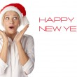 Beautiful Young Happy Christmas Woman over white — Stock Photo