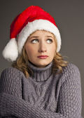 Santa christmas woman in sweater isolated on white — Stock Photo