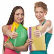 Two young female studens in the studio — Stock Photo