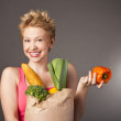 Positive attractive girl with useful food — Stock Photo