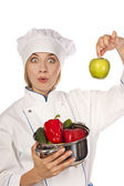 Portrait of smiley female cook in uniform — Stock Photo