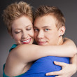 Young beautiful couple in the studio — Stock Photo