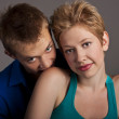 Beautiful young happy smiling couple. isolated — Stock Photo