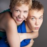 Portrait of smiling couple in studio — Stock Photo #23466246