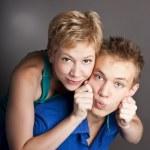 Attractive cute couple. Two in the studio — Stock Photo #23466272