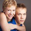 Attractive students at the studio. Young couple — Stock Photo #23466280
