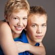 Attractive students at the studio. Young couple — Stock Photo