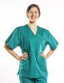 Femme médecin ou infirmière, isolé sur blanc — Photo