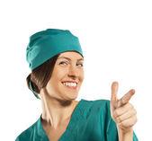 Glücklich positive krankenschwester. isoliert auf weißem hintergrund — Stockfoto