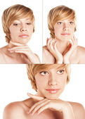 Face blonde. studio white — Stock Photo