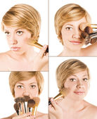 Beautiful woman with make-up brushes near attractive face — Stock Photo