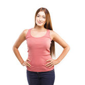 Young student woman posing over white background — Stock Photo