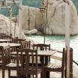 Empty tables in a cafe on the island of Koh Tao — Stock Photo
