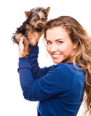 Woman and her dog on white — Stock Photo
