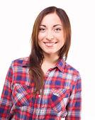 Chica feliz sobre un fondo blanco — Foto de Stock
