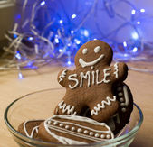 Smiling gingerbread man — Stock Photo