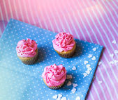 Cute cupcakes with pink cream — Stock Photo