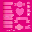Set of pink romantic elements. vector set — Vettoriali Stock