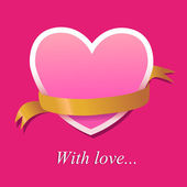 Heart from paper Valentines day card vector background — Wektor stockowy