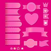 Set of pink romantic elements. vector set — Stock Vector