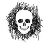 Ilustração de silhueta de um crânio humano. ilustração vetorial. — Vetorial Stock