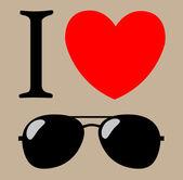 Me encantan las gafas de sol vector ilustración fondo impresión — Vector de stock