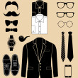 Set of man fashion elements vector  — Stock Vector