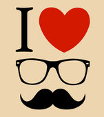 Print I love Hipster glasses and mustaches. vector background — Stock Vector