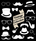 Set collection vintage elements. Hat, glasses, mustache, bow — Stock Vector