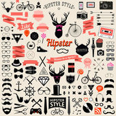 Huge set of vintage styled design hipster icons — Stock Vector