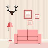 Interior flat living-room — Stok Vektör