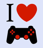 Print I love gaming — Stock Vector